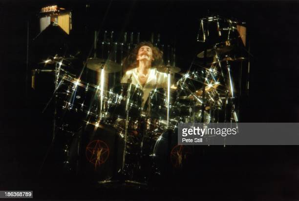Drummer Neil Peart of Rush performs on stage at Hammersmith Odeon on February 20th 1978 in London England