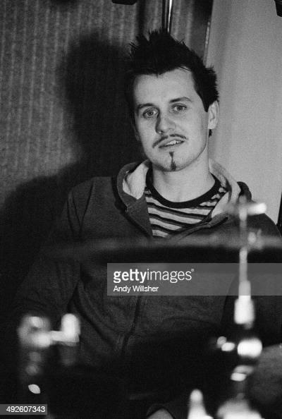 Drummer Neil Primrose of Scottish alternative rock group Travis in a recording studio circa 2000