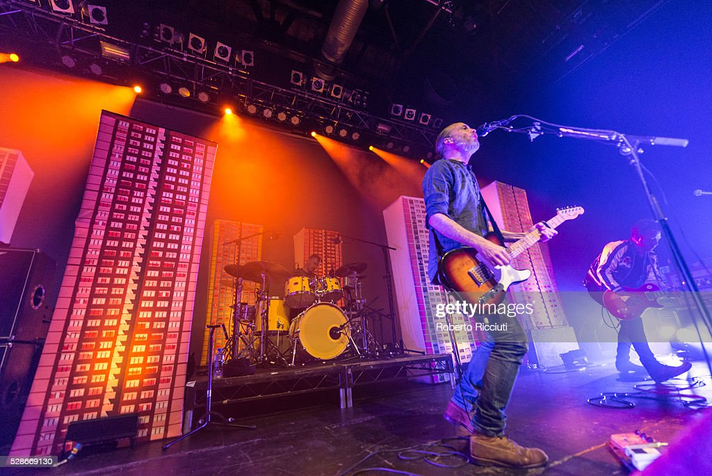 Drummer Neil Primrose, Singer Fran Healy and Guitarist Andy Dunlop of Scottish rock band Travis perform live on stage at O2 ABC Glasgow on May 6, 2016 in Glasgow, Scotland.