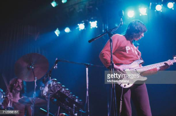 Drummer Nick Mason and bass guitarist Roger Waters of English rock group Pink Floyd perform live on stage in London in January 1972