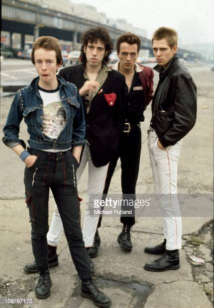 Drummer Nicky 'Topper' Headon guitarist Mick Jones singer Joe Strummer and bassist Paul Simonon of British punk group The Clash in New York in 1978