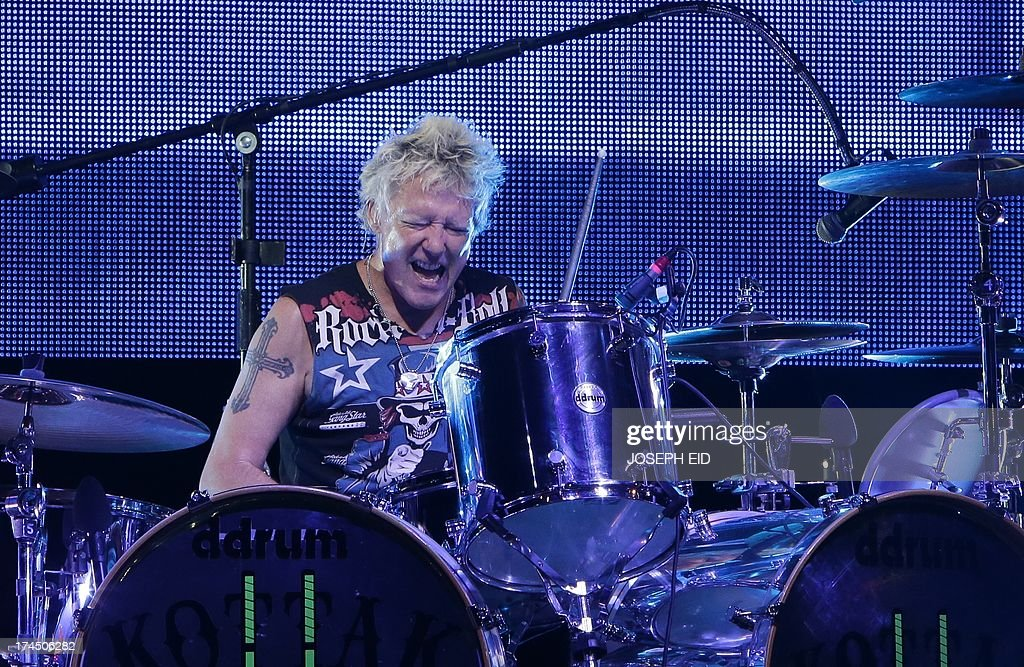 US drummer of heavy metal band Scorpions James Kottak, performs on stage during a concert as part of the Byblos music festival in the coastal town of Byblos, north of Beirut, late on July 26, 2013.