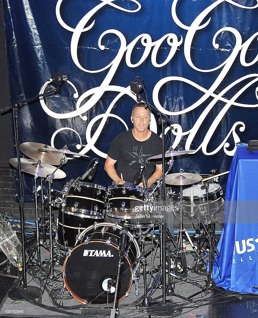 Drummer of the Goo Goo Dolls <a gi-track='captionPersonalityLinkClicked' href=/galleries/search?phrase=Mike+Malinin&family=editorial&specificpeople=883519 ng-click='$event.stopPropagation()'>Mike Malinin</a> performs as part of SIRIUS XM's Coffe House Live series at the Troubadour on August 31, 2010 in Los Angeles, California.