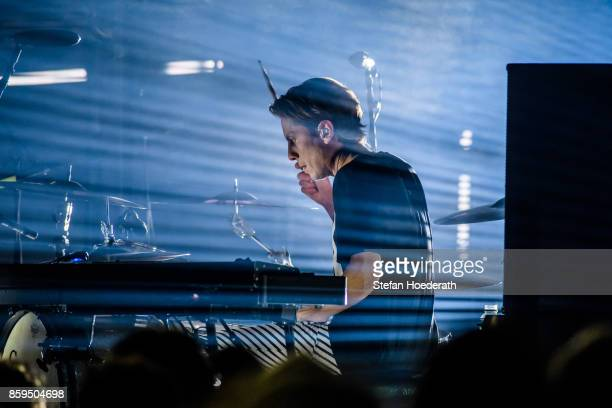 Drummer Orri Pall Dyrason of Icelandic band Sigur Ros performs live on stage during a concert at Tempodrom on October 9 2017 in Berlin Germany