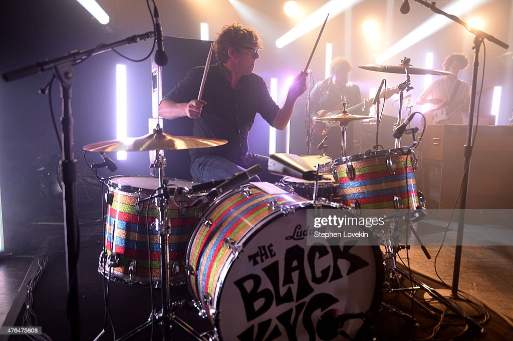 Drummer <a gi-track='captionPersonalityLinkClicked' href=/galleries/search?phrase=Patrick+Carney&family=editorial&specificpeople=2234034 ng-click='$event.stopPropagation()'>Patrick Carney</a> of The Black Keys performs onstage during the iHeartRadio LIVE performance and Q&A with The Black Keys at iHeartRadio Theater on June 9, 2015 in New York City.