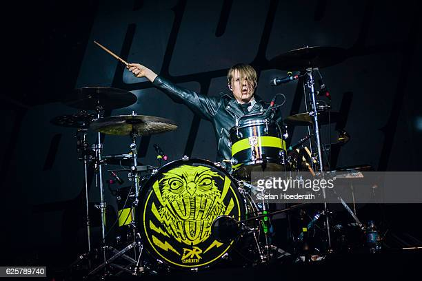 Drummer Per Andreasson of Royal Republic performs live on stage during a concert at Columbiahalle on November 25 2016 in Berlin Germany