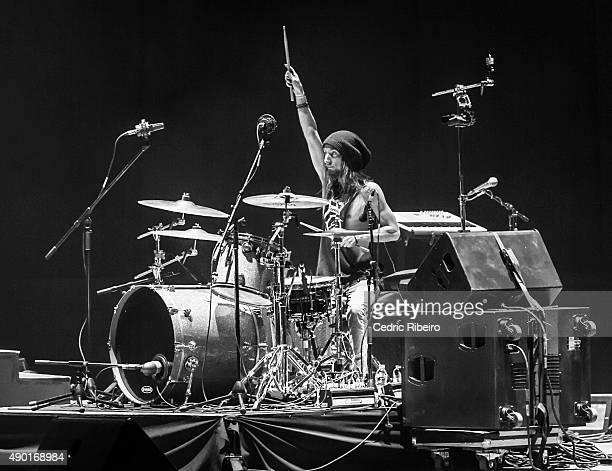 A Drummer performs during Dubai Music Week 2015 at Dubai World Trade Centre on September 25 2015 in Dubai United Arab Emirates