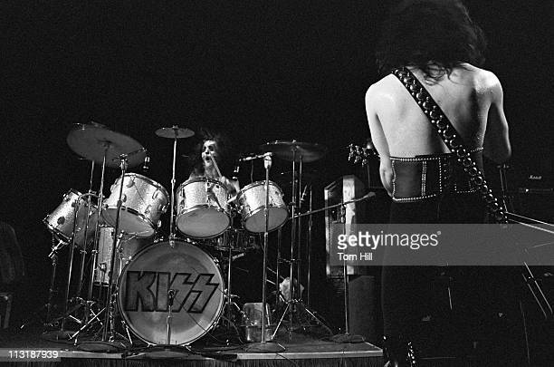 Drummer Peter Criss and guitarist Paul Stanley of Kiss perform at Alex Cooley's Electric Ballroom on June 22 1974 in Atlanta Georgia