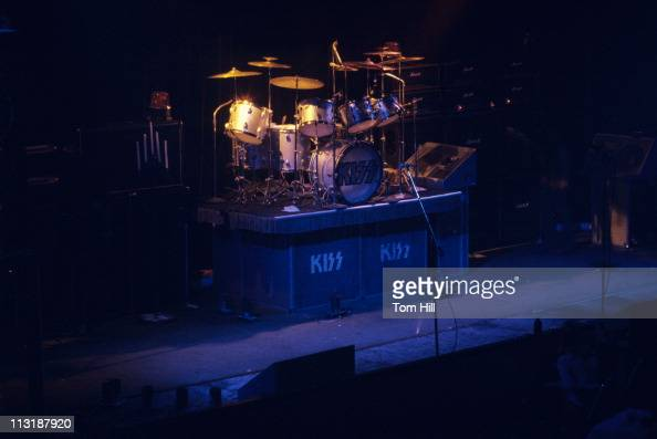Drummer Peter Criss drumset awaits...