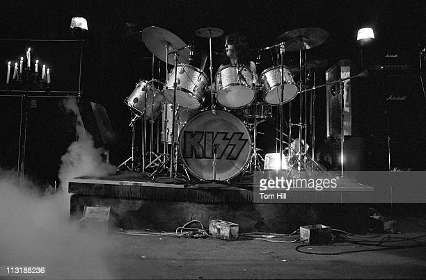 Drummer Peter Criss of Kiss perform at Alex Cooley's Electric Ballroom on June 22 1974 in Atlanta Georgia