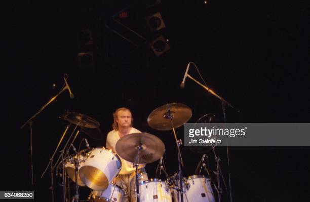 Drummer Phil Collins performs on the Eric Clapton tour at the St Paul Civic Center in St Paul Minnesota on April 18 1987