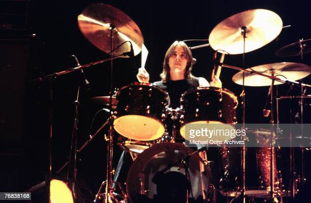 Drummer Phil Rudd of AC/DC performs a gig in February 1977 in Hollywood California