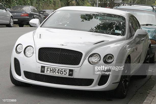 AC/DC drummer Phil Rudd's Bentley car is seen outside Tauranga District Court following his conviction for cannabis possession on December 1 2010 in...