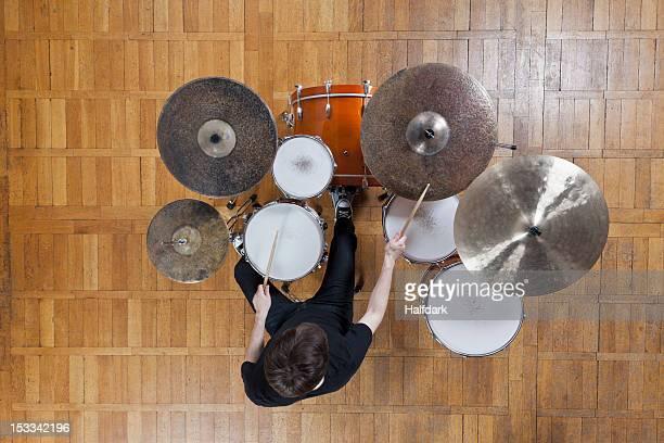 Drummer playing kit