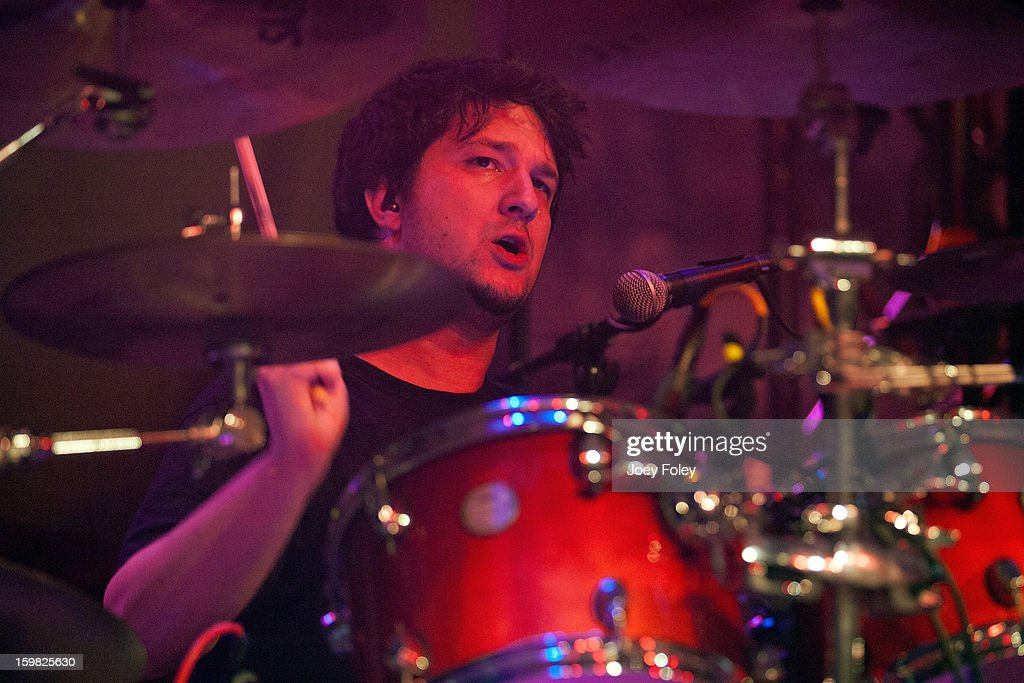 Drummer Rafael Pensado of the rock band Mindflow performs onstage at the Murat Egyptian Room on January 20, 2013 in Indianapolis, Indiana.