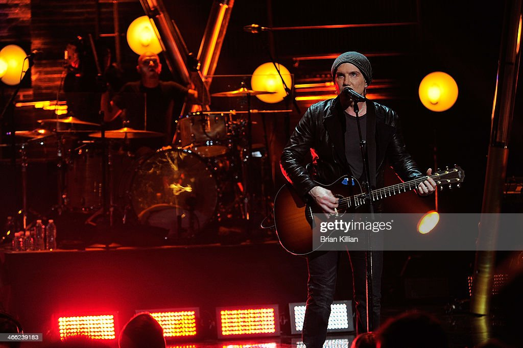 Drummer Rick Woolsterhulme, Jr. and singer Johnny Rzeznik of the group The Goo Goo Dolls perform during VH1's 'Super Bowl Blitz: Six Nights + Six Concerts' at St. George Theatre on January 31, 2014 in the Staten Island borough of New York City.