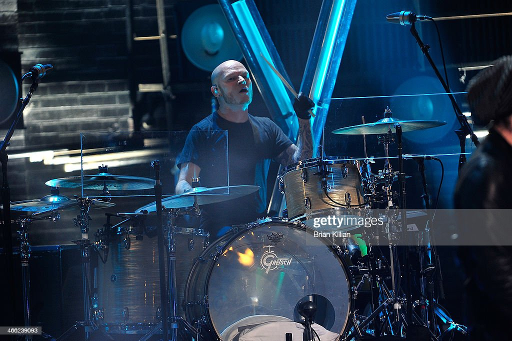 Drummer Rick Woolsterhulme Jr of the band The Goo Goo Dolls performs during VH1's 'Super Bowl Blitz: Six Nights + Six Concerts' at St. George Theatre on January 31, 2014 in the Staten Island borough of New York City.