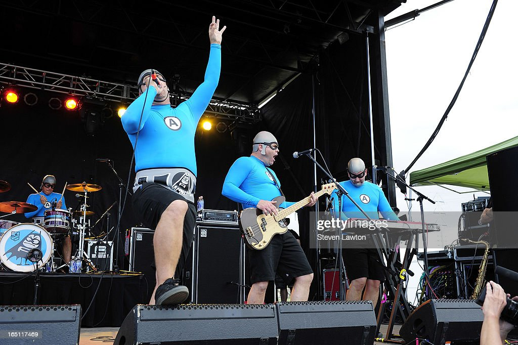 Drummer Ricky Fitness, MC Bat Commander, bassist Crash McLarson and keyboardist Jimmy the Robot of The Aquabats perform during the 18th annual Extreme Thing Sports & Music Festival on March 30, 2013 in Las Vegas, Nevada.