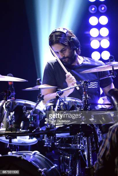 Drummer Rob Bourdon of Linkin Park performs onstage during the band's 'One More Light' album release party at the iHeartRadio Theater on May 22 2017...