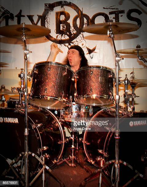 Drummer Rob Reiner of Anvil performs on stage at the Bloomsbury Bowling Lanes on February 18 2009 in London