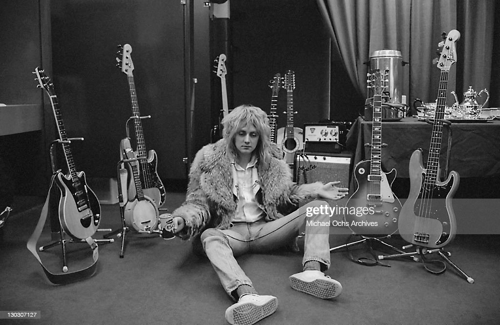 Drummer Roger Taylor of British rock band Queen, backstage during the band's US tour, 1977.