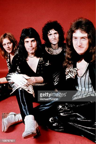 Drummer Roger Taylor singer Freddie Mercury guitarist Brian May and bassist John Deacon of British rock band Queen pose in London England in 1973
