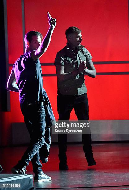 Drummer Ryan Meyer and singer/guitarist Johnny Stevens of Highly Suspect perform onstage during the GRAMMY PreTelecast at The 58th GRAMMY Awards at...