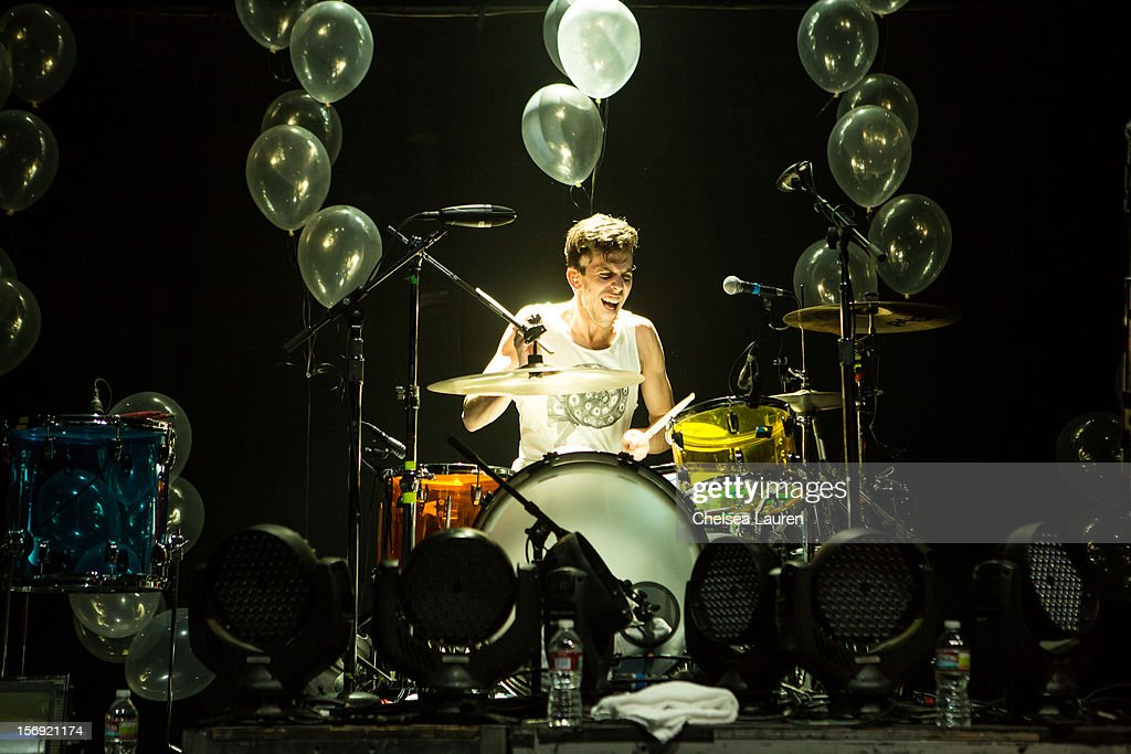 Drummer Ryan Rabin of Grouplove performs at Gibson Amphitheatre on November 24, 2012 in Universal City, California.