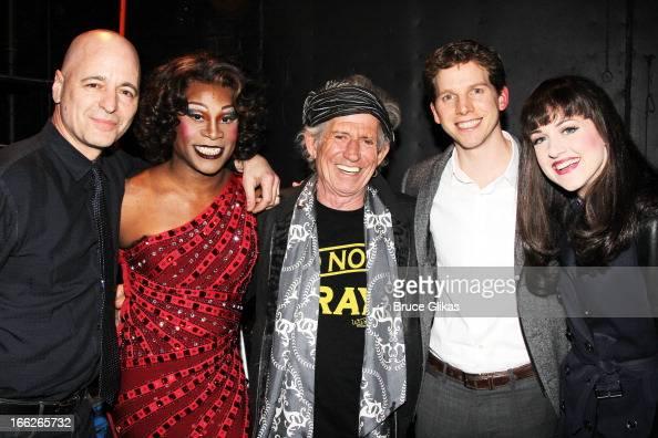 Drummer Sammy Merendino Billy Porter as 'Lola' Keith Richards and Stark Sands as 'Charlie' and Celina Carvajal pose backstage at the hit musical...