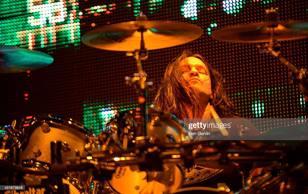 Drummer Shawn Drover performs with Megadeth at the Myth Nightclub on November 23, 2013 in St. Paul, Minnesota. It was their first stop as part of their new Super Collider Tour.