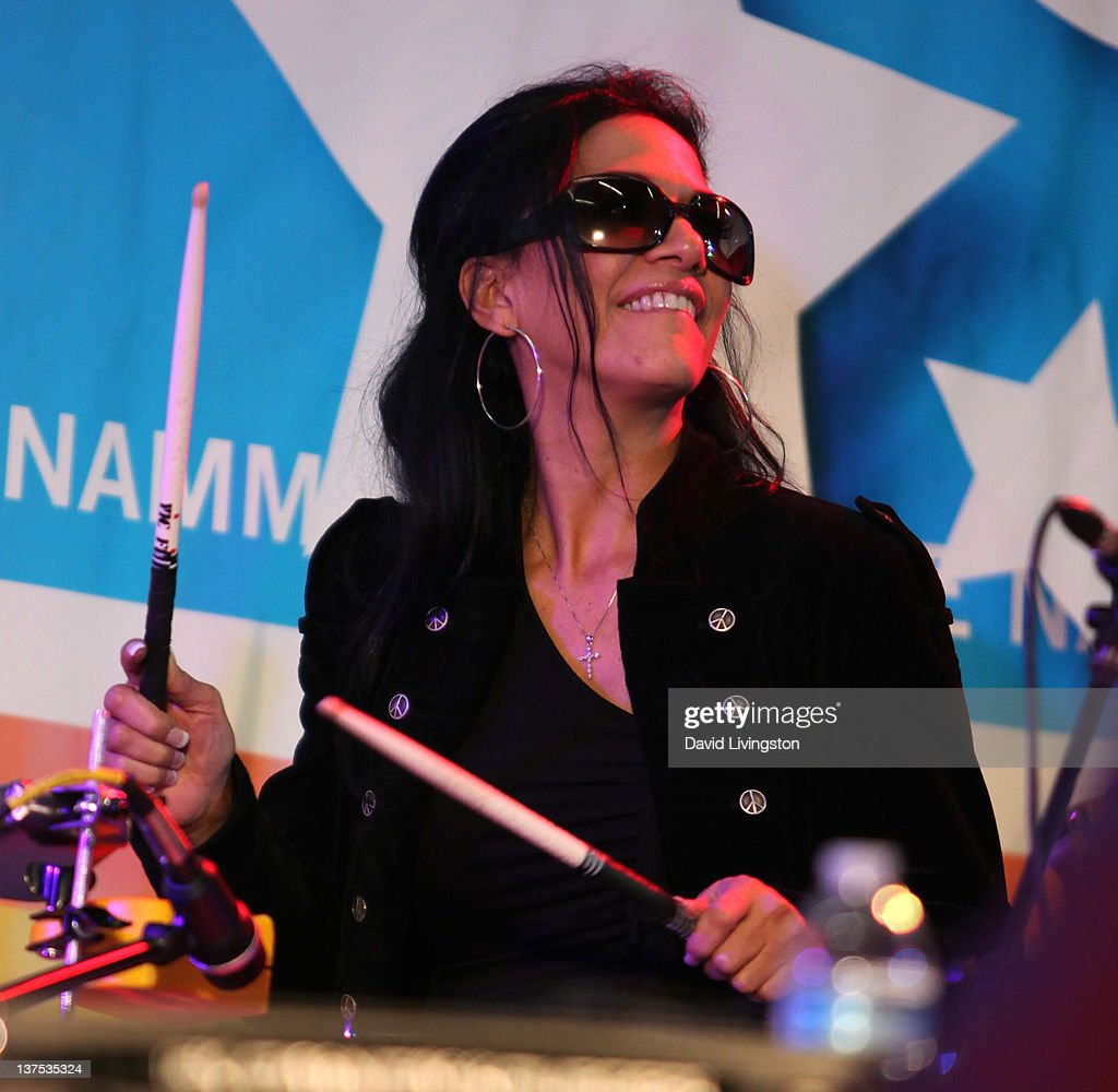 Drummer Sheila E. performs on stage with Band From TV at the 110th NAMM Show - Day 3 at the Anaheim Convention Center on January 21, 2012 in Anaheim, California.