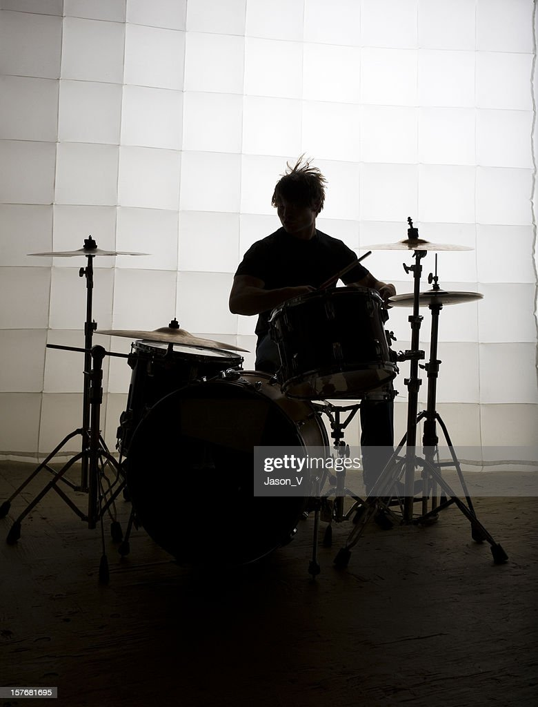 Drummer silhouette : Stock Photo