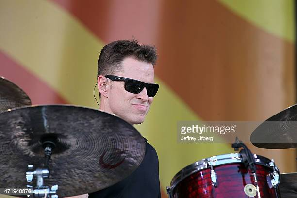 Drummer Stanton Moore performs with Galactic at New Orleans Jazz Heritage Festival at Fair Grounds Race Course on May 1 2015 in New Orleans Louisiana