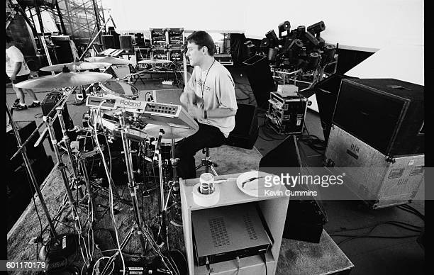 Drummer Stephen Morris of English rock group New Order soundchecking during the band's North American tour JulyAugust 1993