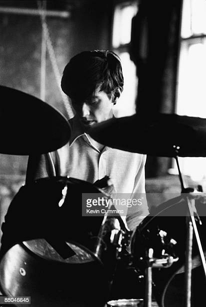 Drummer Stephen Morris of rock group Joy Division at TJ Davidson's rehearsal room Little Peter Street Manchester 19th August 1979