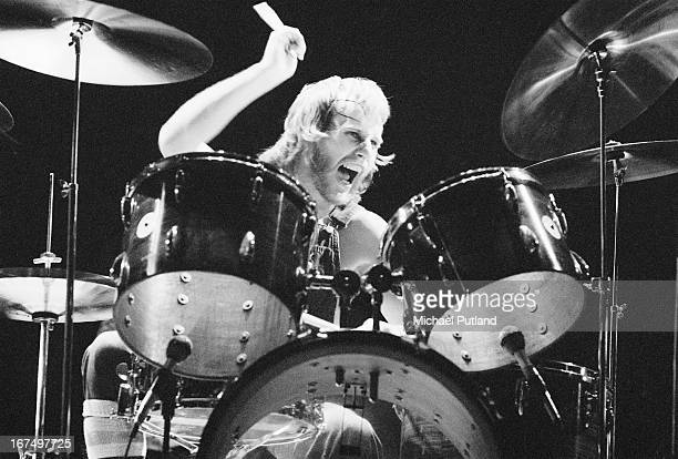 Drummer Steve Upton performing with British rock group Wishbone Ash at the Rainbow Theatre London 11th January 1973