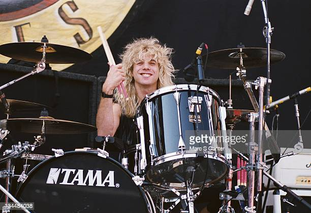 Drummer Steven Adler of the rock group 'Guns n' Roses' during soundcheck as they get ready to open for Aerosmith and Deep Purple at Giants Stadium on...