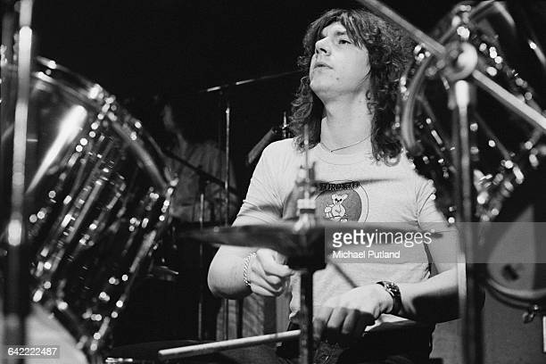 Drummer Stuart Tosh performing with Britidh rock group 10cc USA November 1978
