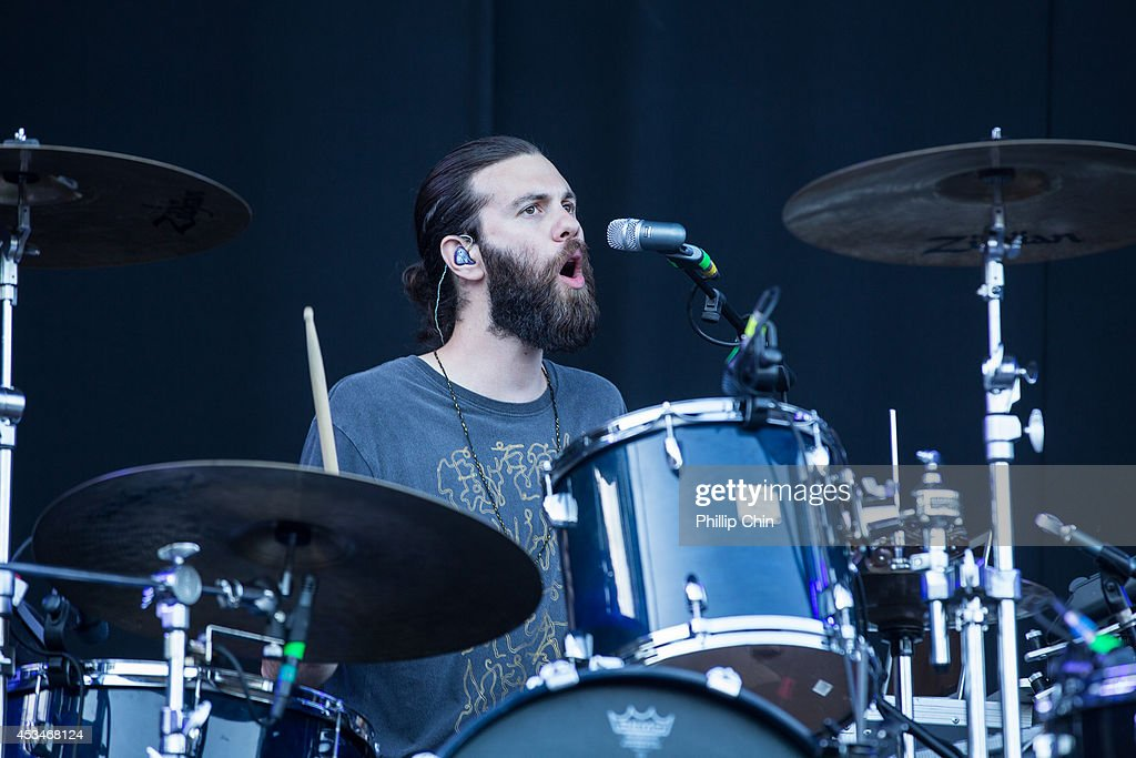 Drummer Toby Dundas of The Temper Trap performs at the Squamish Valley Music Festival on August 10, 2014 in Squamish, Canada.