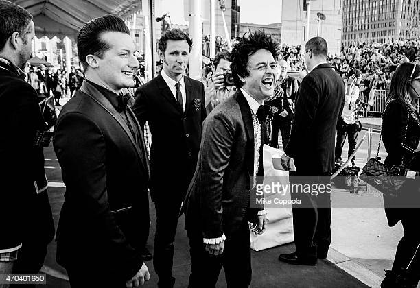 Drummer Tré Cool bass player Mike Dirnt and singer Billie Joe Armstrong of the band Green Day attend the 30th Annual Rock And Roll Hall Of Fame...