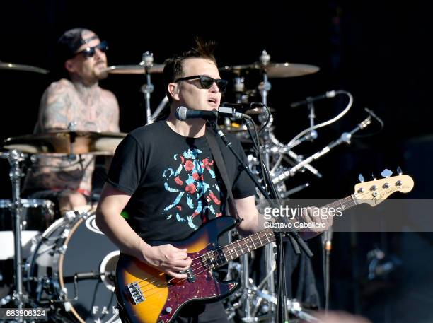 Drummer Travis Barker and guitarist Mark Hoppus of Blink182 perform at the Capital One JamFest during the NCAA March Madness Music Festival 2017 on...