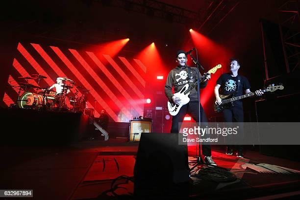 Drummer Travis Barker guitarist Matt Skiba and bass guitarist Mark Hoppus of the band Blink 182 perform at the 2017 NHL AllStar Saturday Night Party...