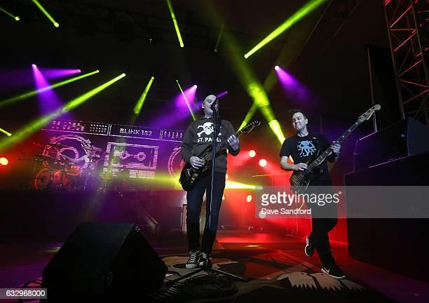 Drummer Travis Barker guitarist Matt Skiba and bass guitarist Mark Hoppus of the band Blink182 perform at the 2017 NHL AllStar Saturday Night Party...