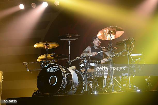Drummer Travis Barker of Blink 182 performs live in concert at Sands Bethlehem Event Center on September 12 2013 in Bethlehem Pennsylvania