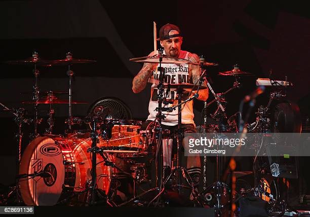 Drummer Travis Barker of Blink182 performs during X1075's Holiday Havoc 2016 show at The Pearl concert theater at Palms Casino Resort on December 8...