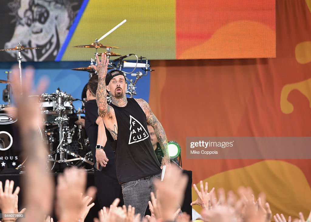 Drummer Travis Barker of the band Blink 182 performs on ABC's 'Good Morning America' at SummerStage at Rumsey Playfield, Central Park on July 1, 2016 in New York City.