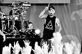 Drummer Travis Barker of the band Blink 182 Performs on ABC's 'Good Morning America' at SummerStage at Rumsey Playfield Central Park on July 1 2016...