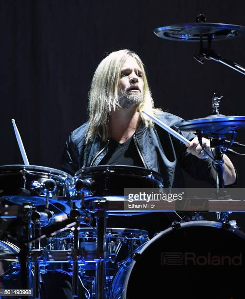 Drummer Will Hunt of Evanescence performs as the band kicks off its tour in support of the upcoming album 'Synthesis' at The Pearl concert theater at...