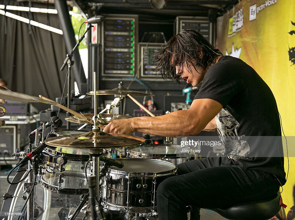 Drummer Zac Mayfield of Oh, Sleeper performs during the Vans Warped Tour 2013 at Klipsch Music Center on July 3, 2013 in Noblesville, Indiana.