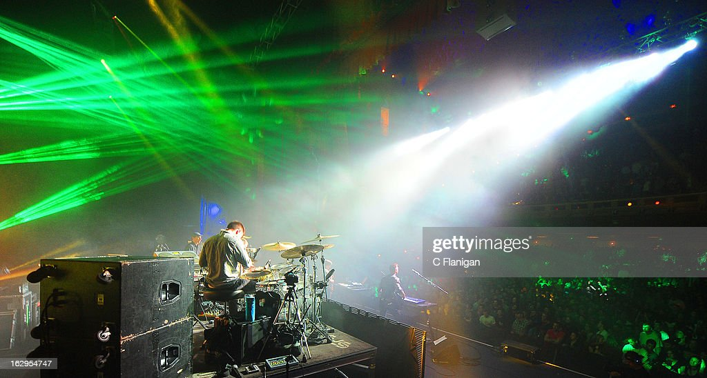 Drummer Zach Velmer and Sound Tribe Sector 9 (STS9) perform at The Fox Theatre on March 1, 2013 in Oakland, California.